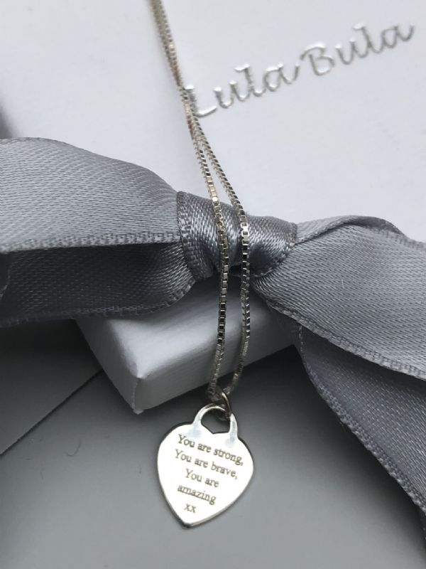 You are strong, you are brave, you are amazing - engraved silver necklace gift - FREE ENGRAVING